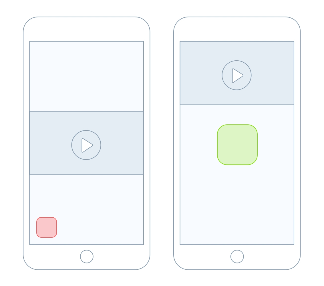 To the left is the previous app icon position, to the right the optimized positioning.