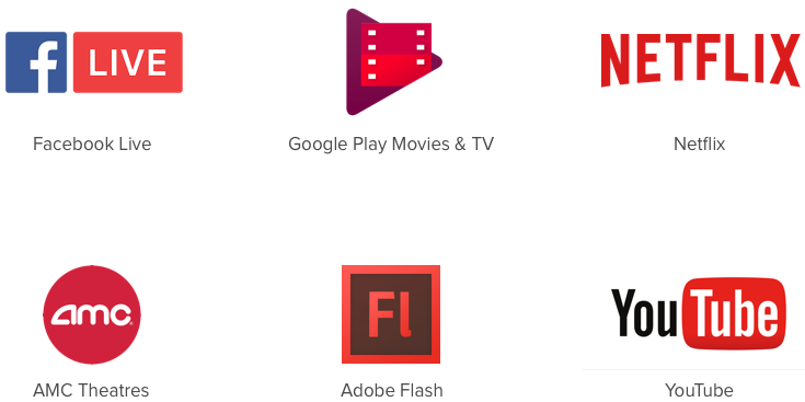 Video and film companies using red throughout their branding.
