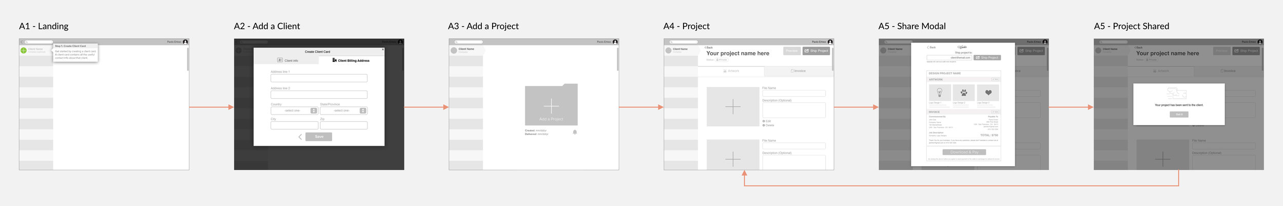 Very first wireframes of the product (click to view).