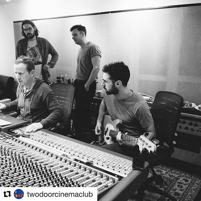 With @twodoorcinemaclub working on their latest record False Alarm at @rakstudios.