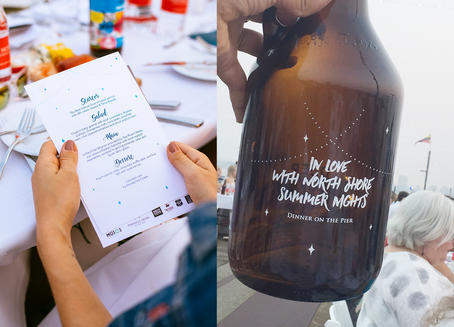(Left:) 2017's menu design and (Right:) custom growler design collaboration with Deep Cover Brewers