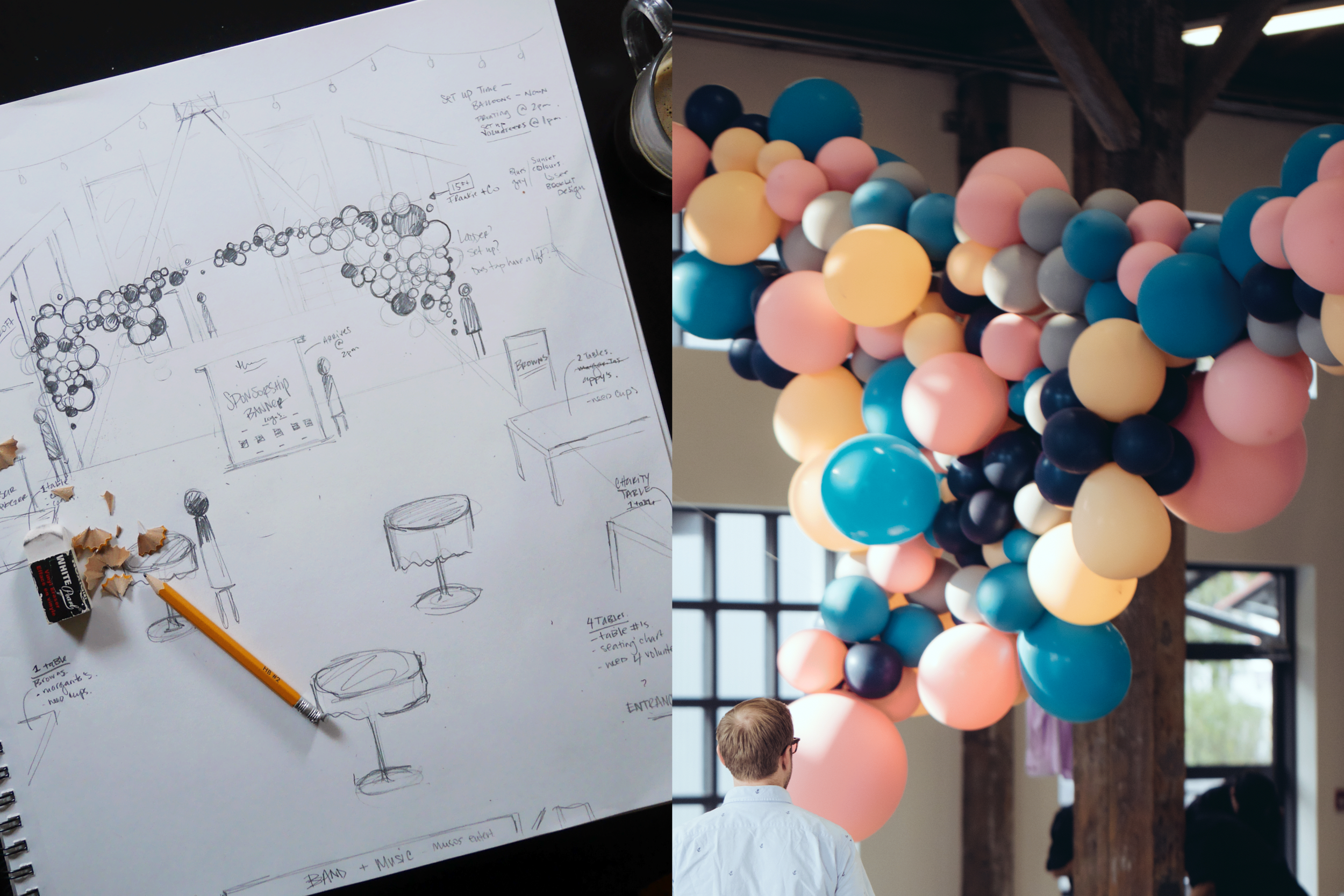 The event begins with a cocktail hour in the Pipe Shop Venue. Shown above is a concept design and layout of the room. Balloon design was executed by Frankie and Co.