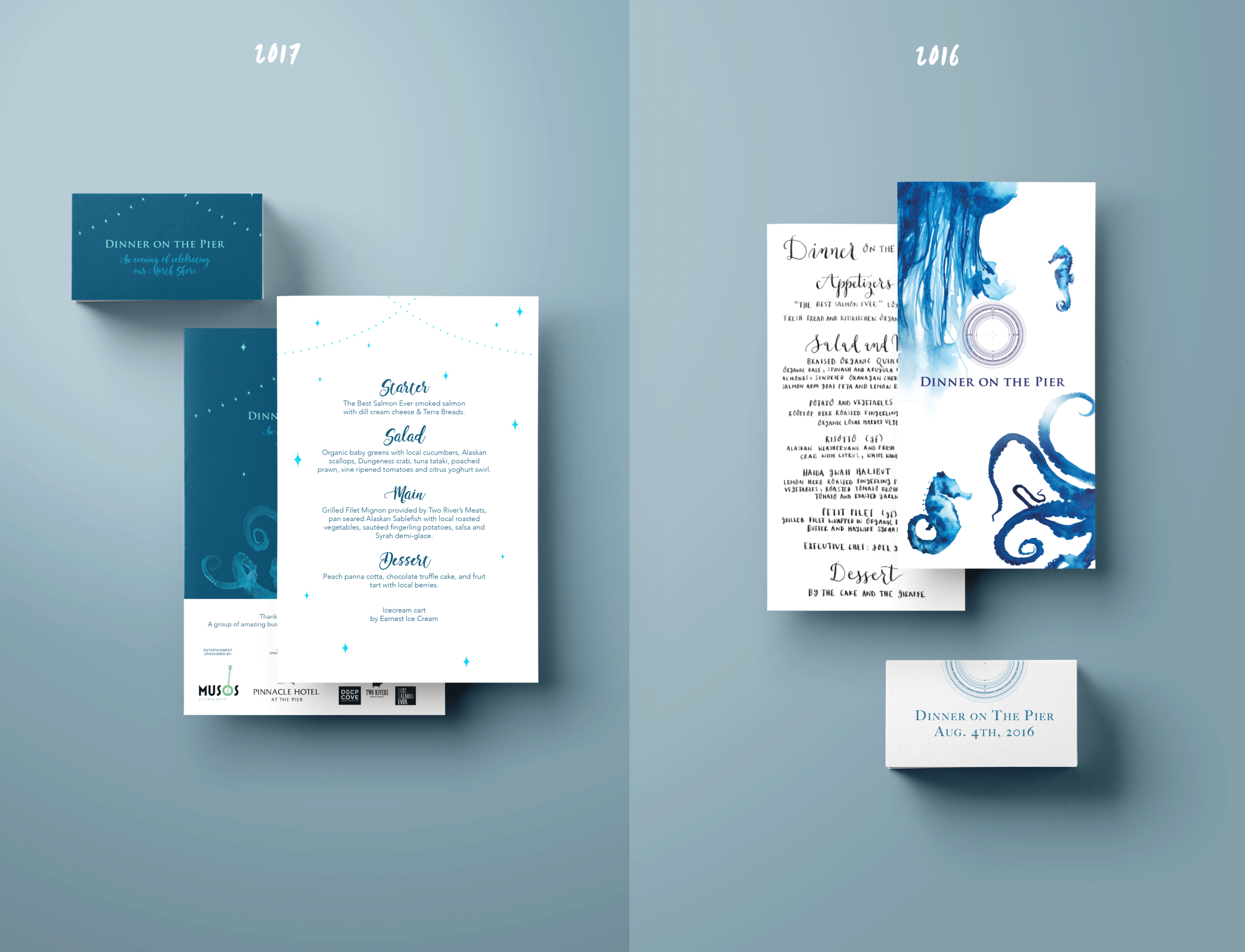 Menu and logo design, on the left 2017's and on the right 2016's)