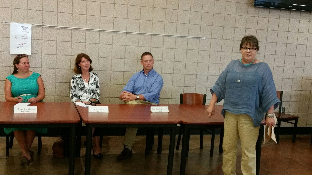 Cathy Miller, University of Northern Iowa, introduces the panel on 1-1 Technologies:  Allysen Lovstuen, Decorah Community Schools, Kathy Nunn, Mediapolis Schools and Matt Switzer, Des Moines Community Schools.