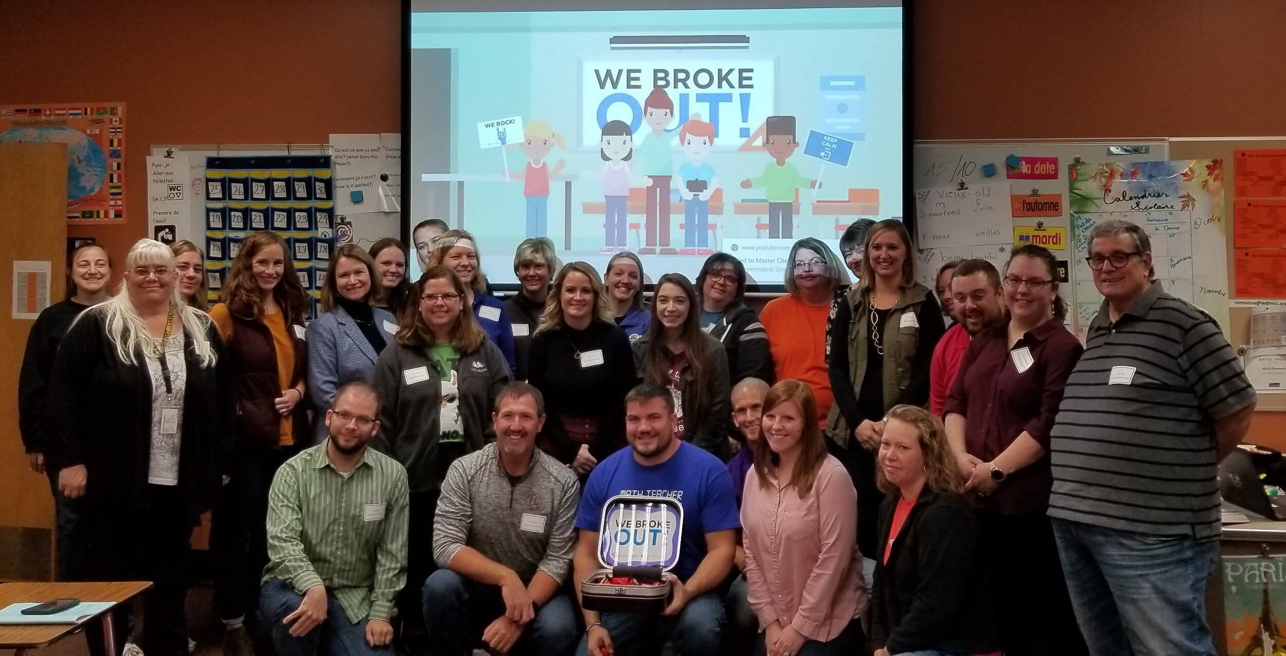 During the conference, participants played BreakOut Linear vs. Avengers where the teachers had to solve a puzzle and unlock 5 padlocks to break out. They were able to break out with 6 minutes left. Games can be found at  https://platform.breakoutedu.com/ .