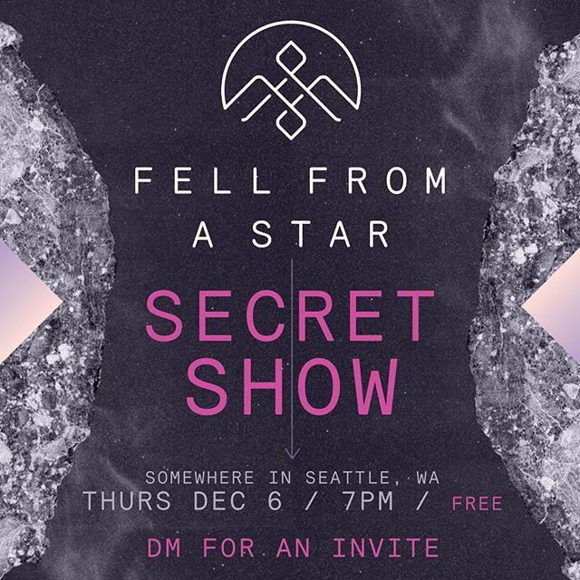 SECRET SHOW // FREE // Thursday December 6 // DM for an invite! 😘🤷🏼♂️🙊😜🦹🏼♂️🎶🎤🎸