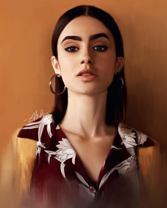 This one took me a WHILE 😂 My first time painting patterns, and as you can probably tell, details are almost no existent 😂 Attached process images too ☺️ . I am in-love with @lilyjcollins and she's my #painting for #womancrushwednesday #girlcrush 🥰 . #illustration #fanart #celebrityart #lilycollins #beautifulwomen #beautifulgirls #digitalart #digital #portrait #artchallenge #artwork #artoftheday #drawingoftheday #procreate #ipadart #brushpainting #realisticdrawing #realisticpainting @shiranou #artistsoninstagram #artists #art_spotlight