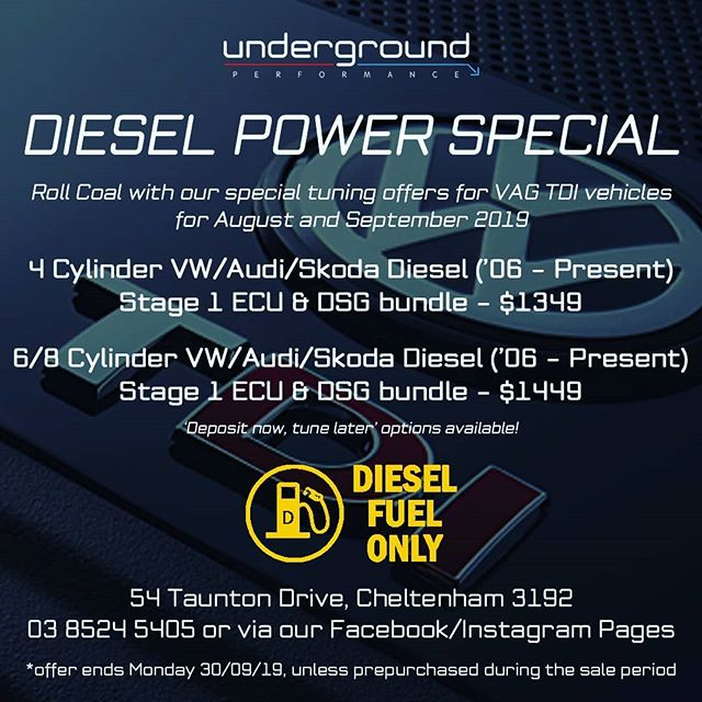 For all the VAG Diesel owners out there, check out our latest offering rolling over two months!  Get in touch with Underground Performance today on 03 8524 5405 Or slide into our DM's! 😉