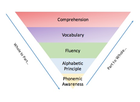 This graphic shows the 5 Big Ideas of Literacy as an inverted pyramid.  While the ultimate goal of reading is being able to understand what we read in order to read to learn, it is important to build the foundational skills.  A comprehensive approach to teaching literacy skills should focus on teaching the parts, through targeted lessons and scaffolded practice, as well as teaching the whole concept of reading through read alouds and exploration of texts.