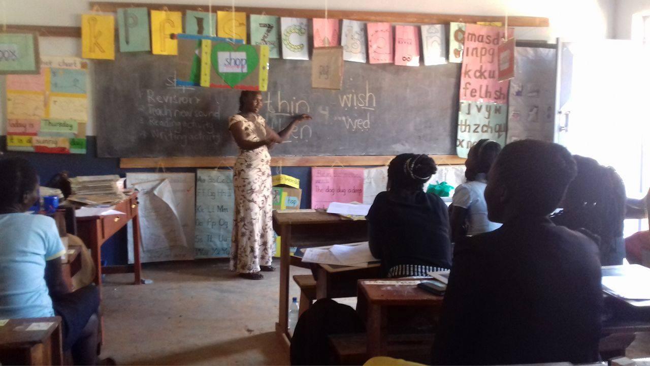 Teacher Ruth teaching the student teachers from St Agnes Nursery Teacher's Training College.