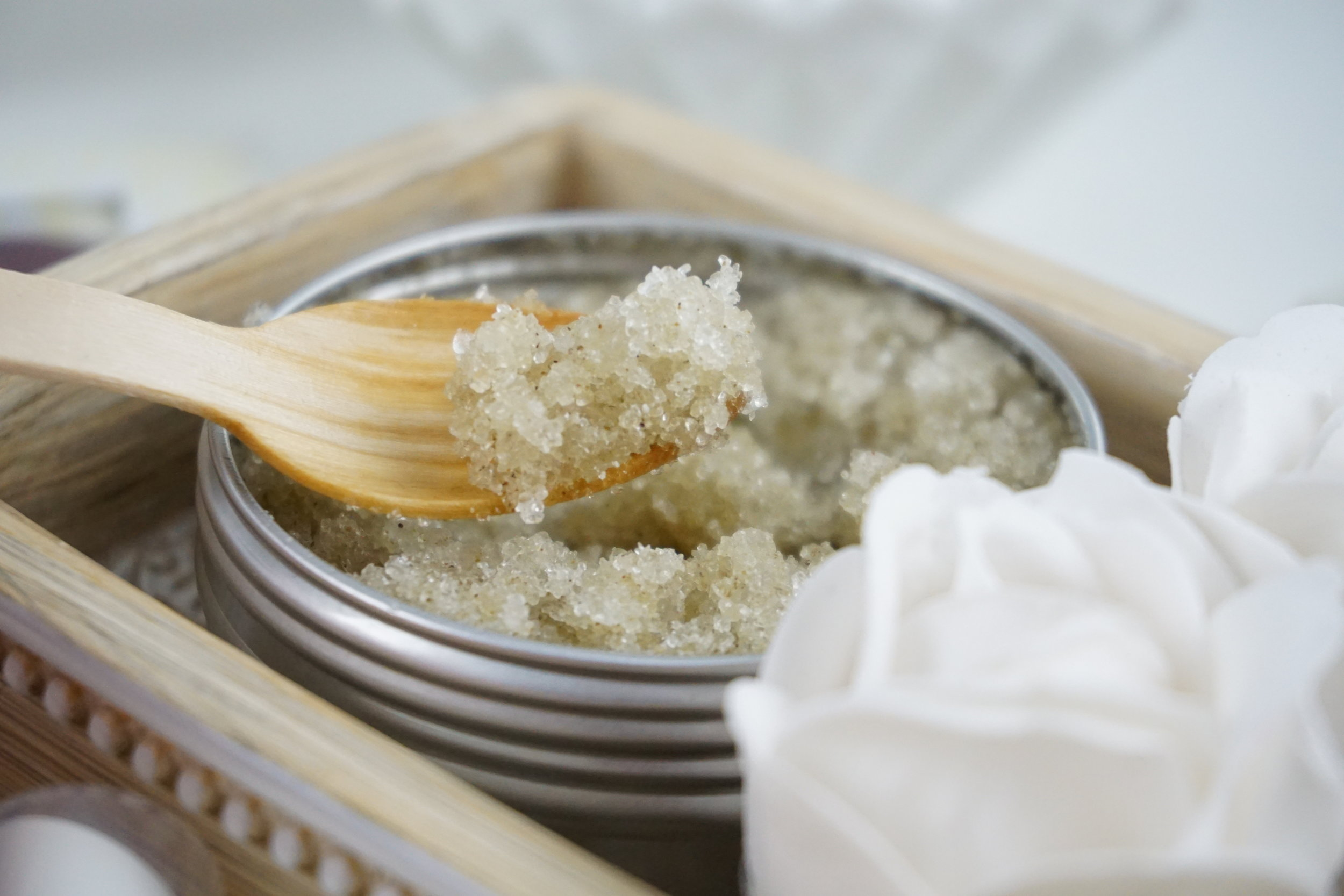 SALT SCRUBS - I would highly recommend salt scrubs for legs, bums and tums as the larger grains in salt scrubs are fantastic at bringing the skin to life and increasing circulation in these areas. It's also where I see the biggest difference afterwards when skin looks and feels rejuvenated. Bear in mind these larger particles are a little looser and tend to slide off damp skin so it might be worth bearing in mind that when using a salt scrub you pat the skin dry a little before application to keep the scrub on the skin.I recommend: The Salt Parlour - 'Calm' Salt Scrub with Rose + Shea Butter. This (along with their Lime & Avocado scrub!) are my two favourites which are perfect for revitalising and buffing the surface of the skin. They are 100% cruelty free and vegan and their tins are fully recyclable AND re-useable! (www.thesaltparlour.co.uk, £15.00)