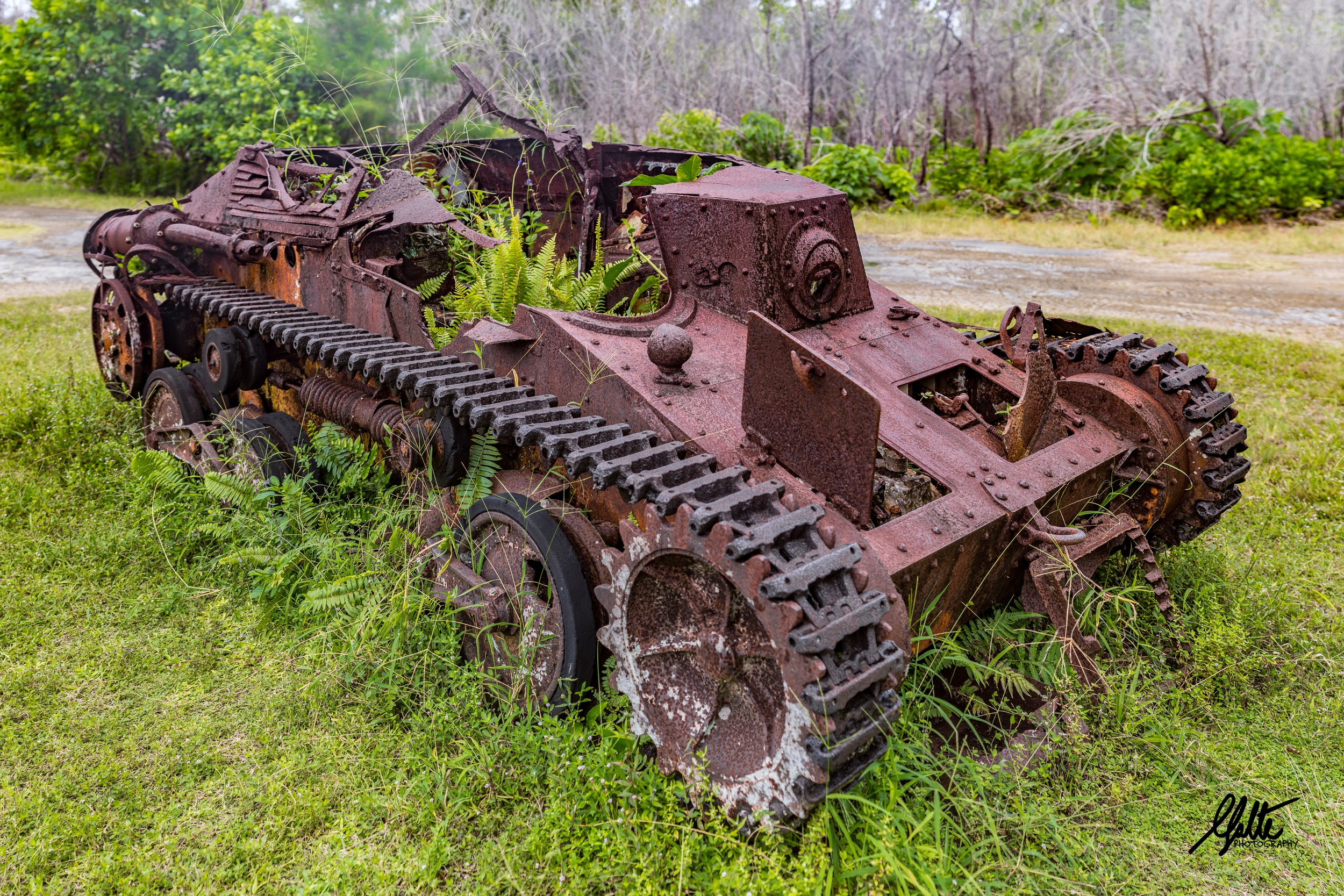 As the Marines were getting a tenous foothold near the end of the first day, the Japanese counterattacked them to push them off the beaches with 15 of these Type 95 light tanks, all of which were quickly destroyed. This one never made it near to the beaches having been destroyed near the airfield.