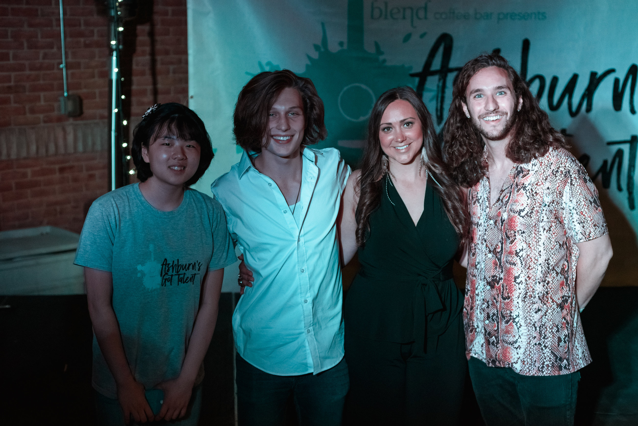 Pictured L-R: Joanna Kim (2nd place), Ethan Clark (1st place), Caryn Switaj (Songwriter's Award) and Host Brandon Diaz! (photos by Ally Ratigan)