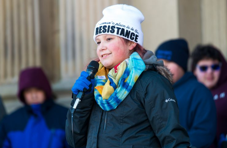 Indigenous youth activist Kendra Levi-Paul, 11, on the steps of the New Brunswick Legislative Assembly. (Michael Hawkins/Wicked Ideas)