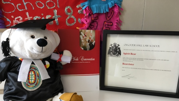 """""""Honorary Bearister"""" Spirit Bear poses with his degree from Osgoode Hall Law School. (Carrier Sekani Family Services)"""