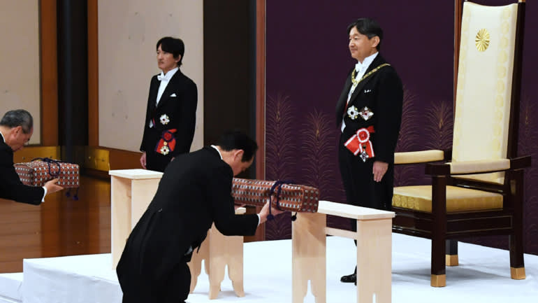 """Reiwa (令和) represents """"a culture being born and nurtured by people coming together beautifully"""" / """"Beautiful Harmony""""."""