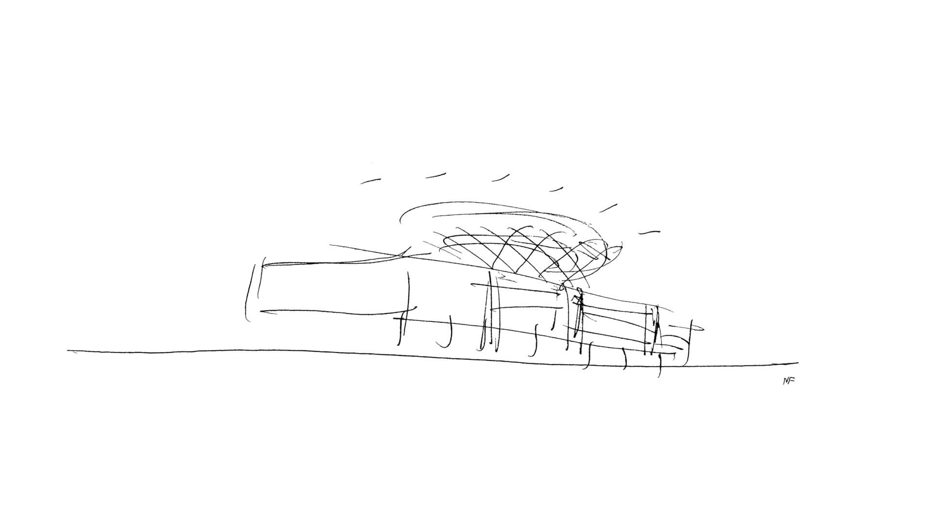 Drawing for the design of the Supreme Court Building, image courtesy  Foster + Partners website