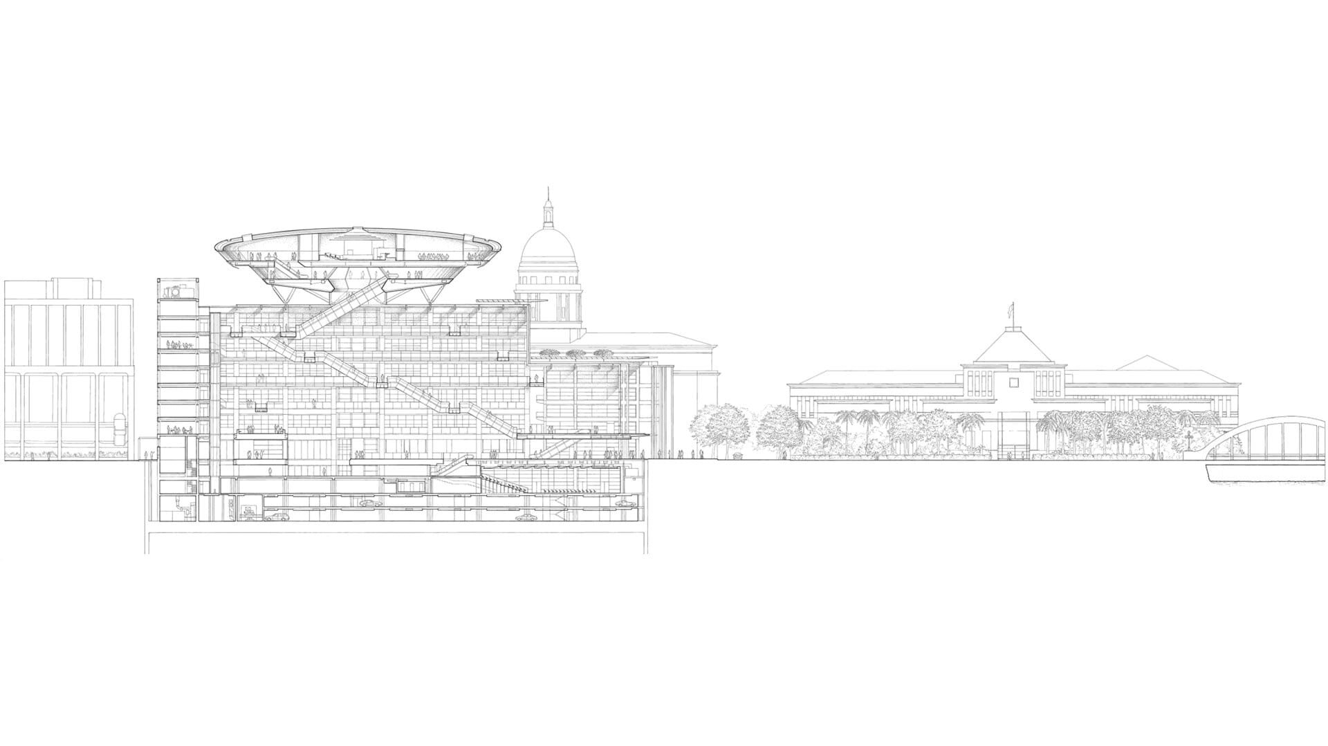 Elevation drawing of the Supreme Court Building, image courtesy  Foster + Partners website