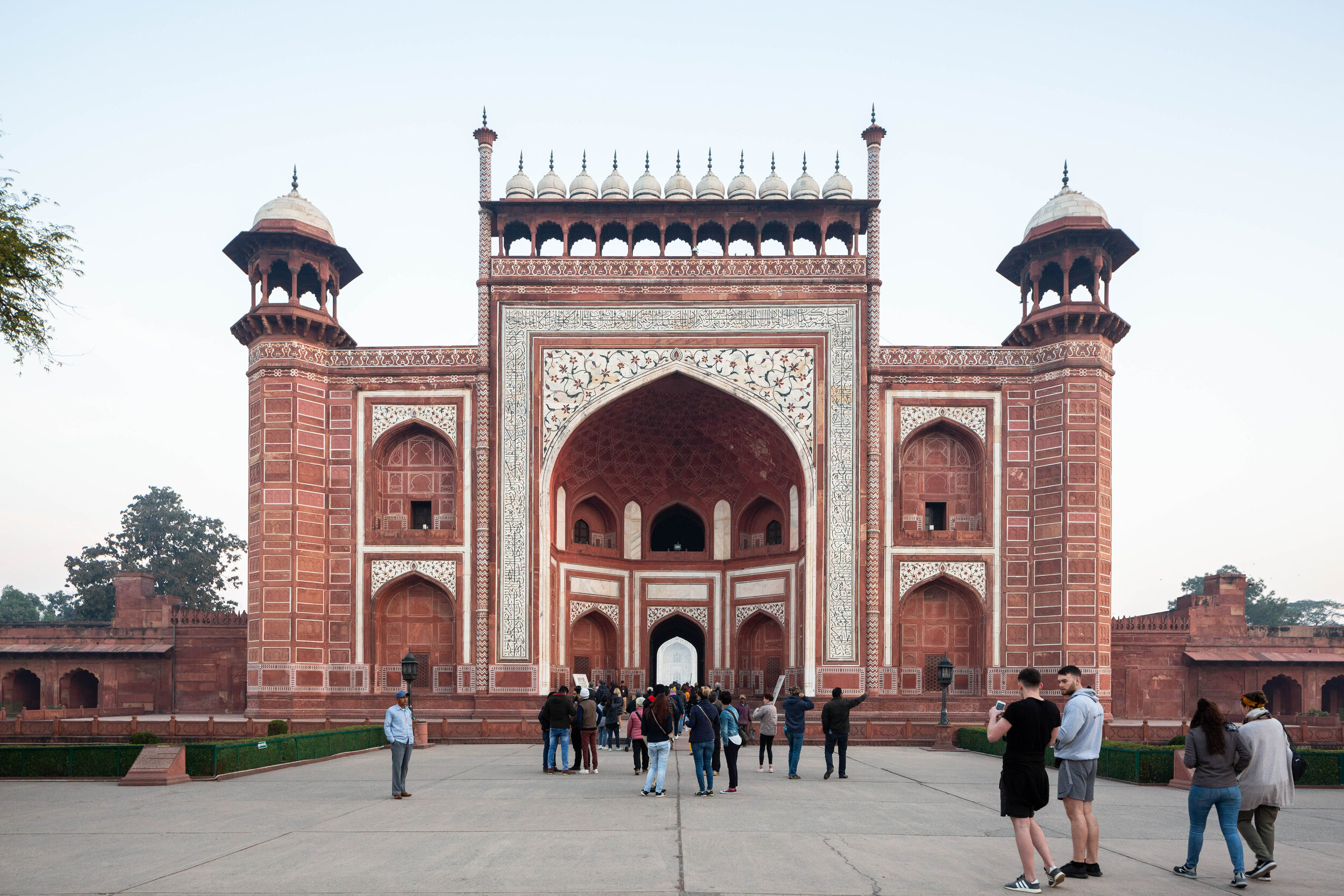 South Gate with the southern portal of the Taj Mahal visible through the arched doorway