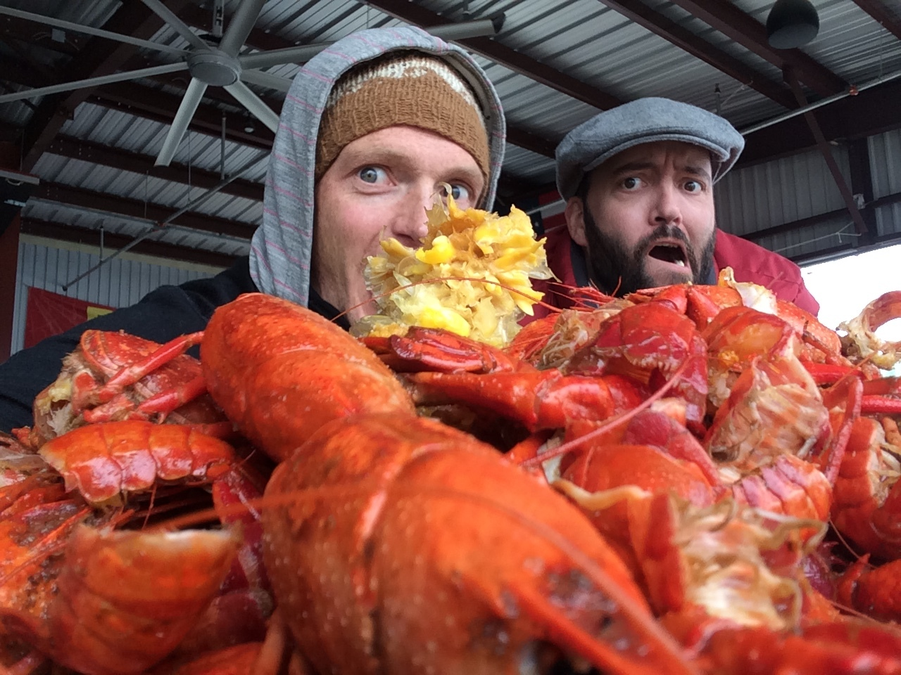 Hunter and I eating a mountain of crawfish.