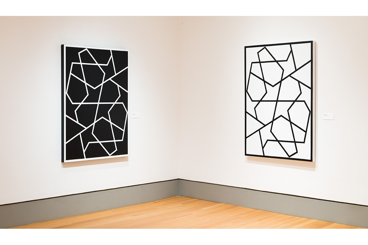 Left: Topkapi II. 1992. Acrylic on canvas. 60 x 43 in., 152.4 x 109.2 cm.  Right: Topkapi XII. 2011. Acrylic on canvas. 60 x 43 in., 152.4 x 109.2 cm.
