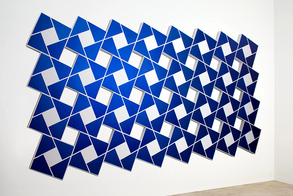 Ajlun XII: Venetian Blue   2002. Acrylic on 32 canvases. 80 x 168 in., 203.2 x 426.7 cm.