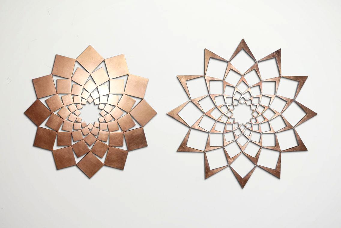 Saida XIX: Copper Leaf   2013. Copper leaf on wood. 42 x 81 in., 106.7 x 205.7 cm.