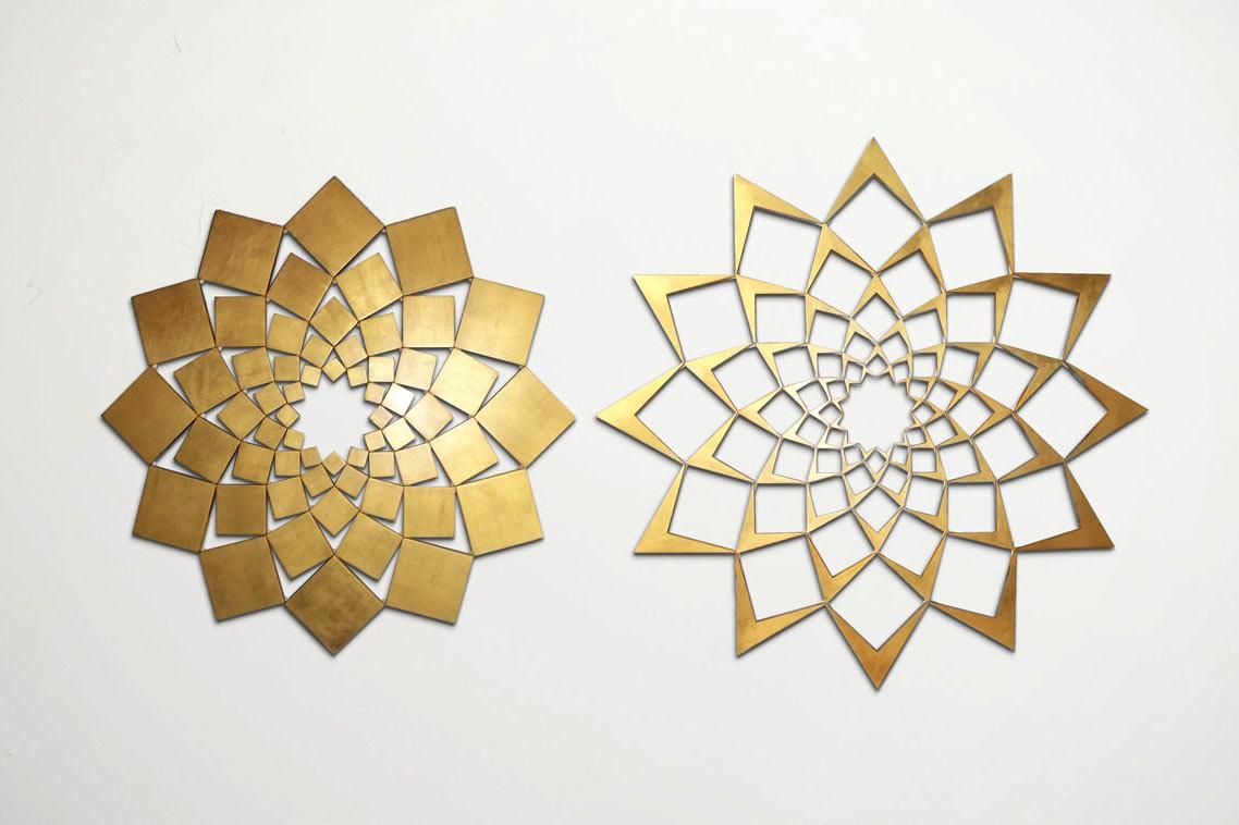 Saida XVII: Gold Leaf   2013. Gold leaf on wood. 42 x 81 in., 106.7 x 205.7 cm.