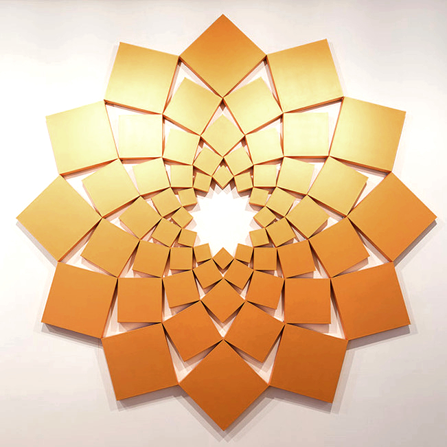 Saida V: Iridescent Gold   1998. Acrylic on 60 canvases. 120 x 120 in., 304.8 x 304.8 cm.