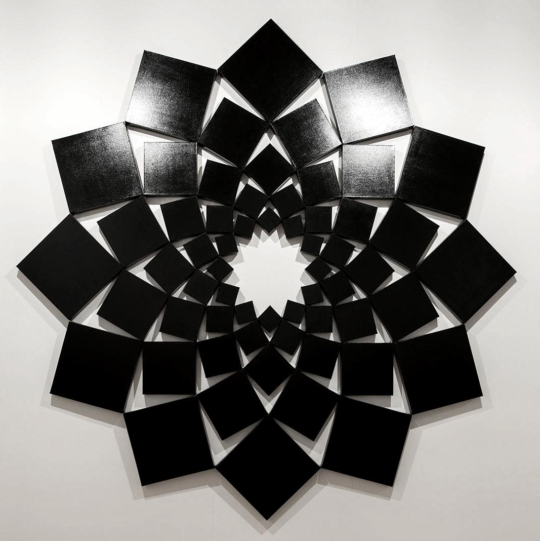 Saida I: Black   1998. Enamel on 60 canvases. 120 x 120 in., 304.8 x 304.8 cm.