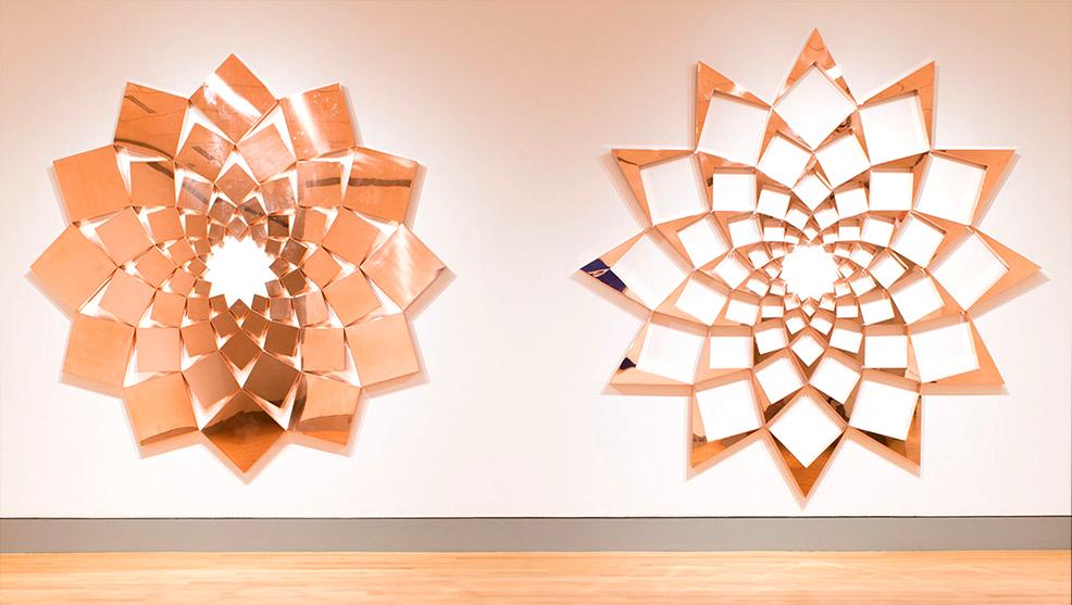 Saida III: Iridescent Copper   2013. Copper-plated steel, 132 pieces. 144 x 300 in., 365.8 x 762 cm.