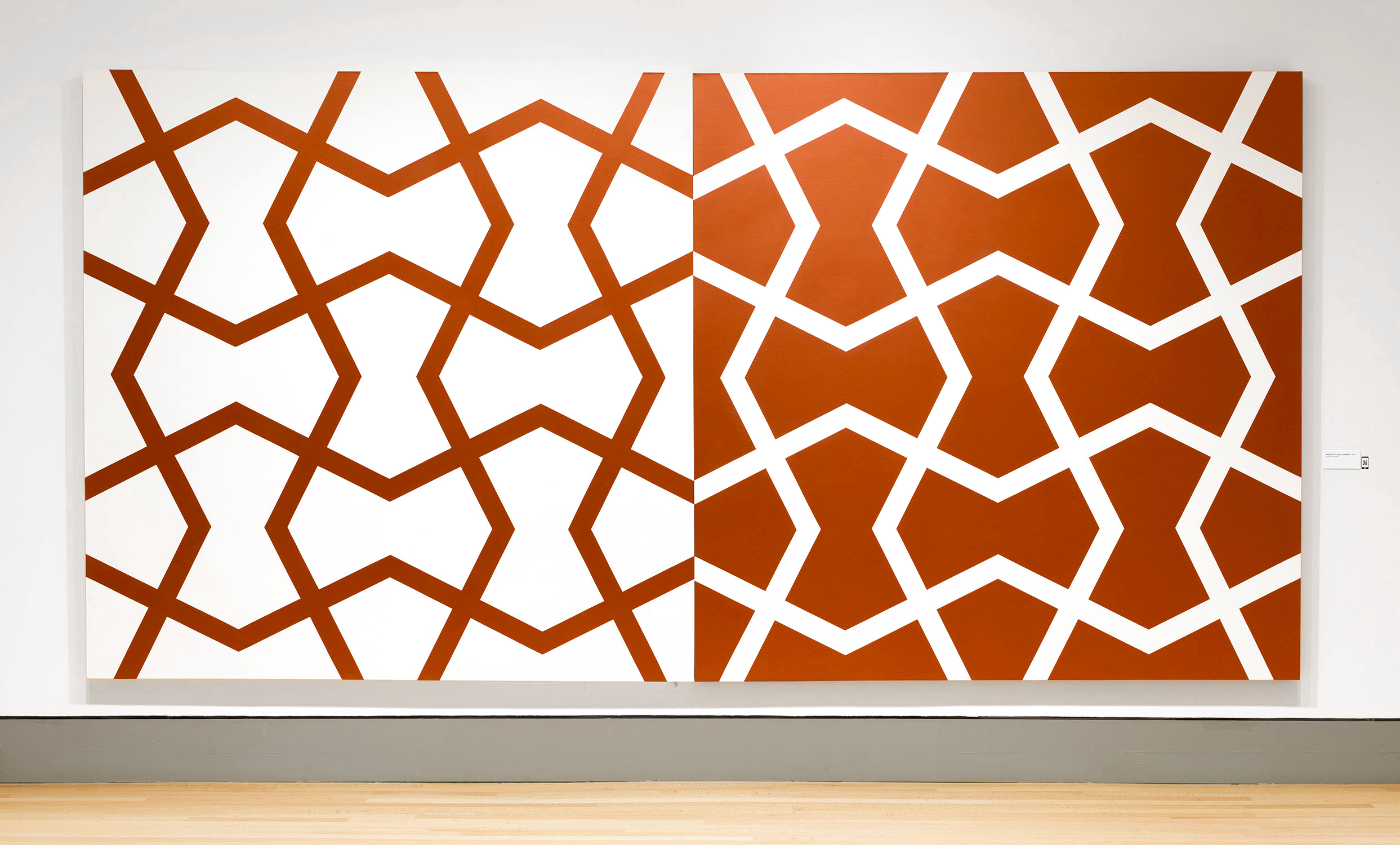Mughal IV: Copper and White   1984. Acrylic on 2 canvases. 96 x 192 in., 243.8 x 487.7 cm.