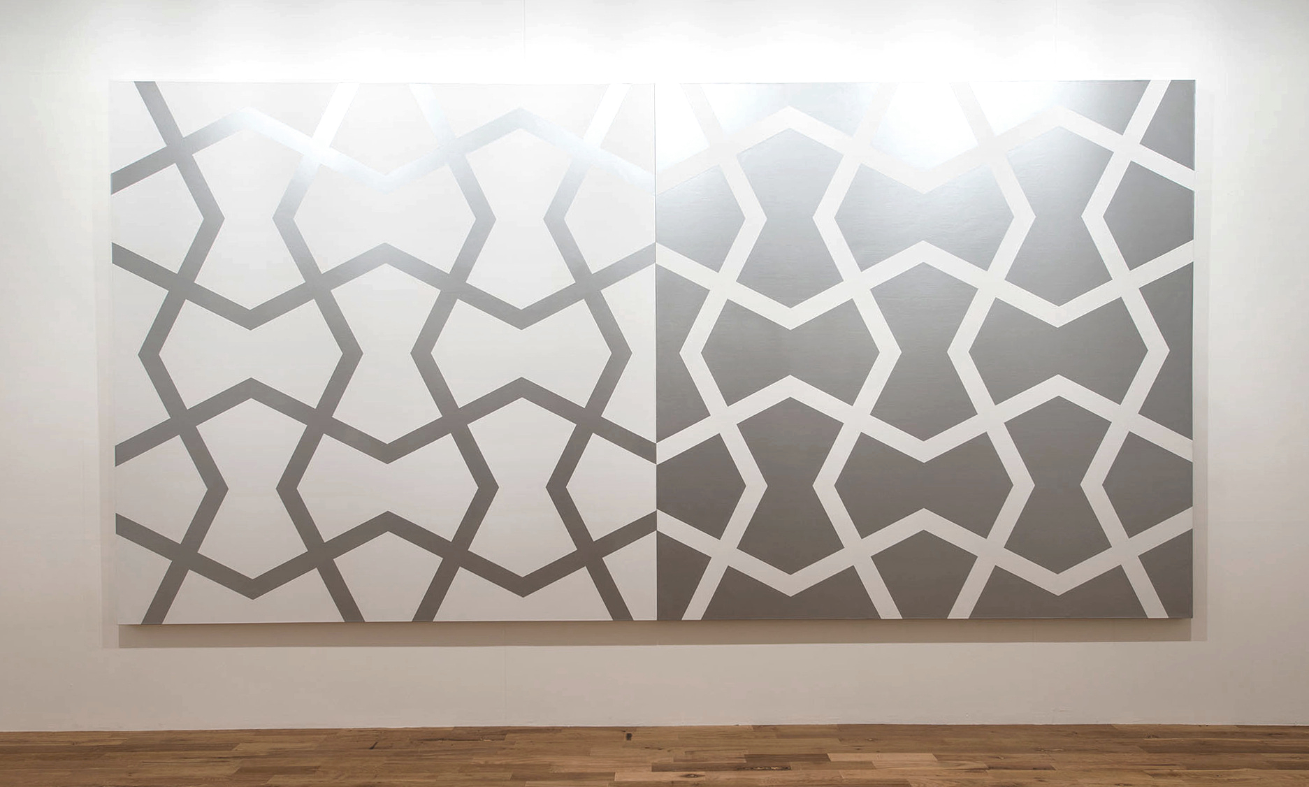 Mughal V: Silver and White   1984. Acrylic on 2 canvases. 96 x 192 in., 243.8 x 487.7 cm.