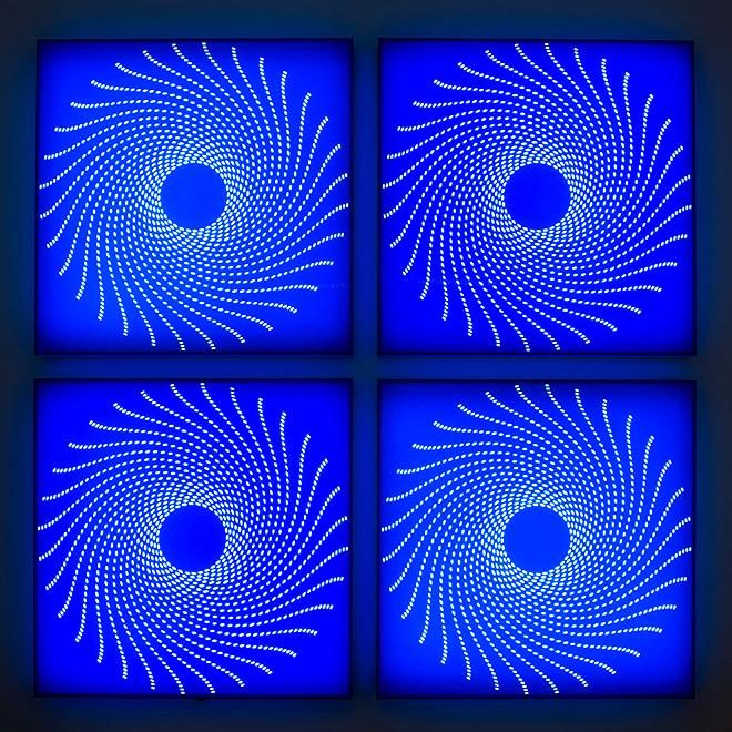 Uzbek VII   2012. Acrylic with LED lights. 100 x 100 x 3.5 in., 254 x 254 x 9.9 cm.