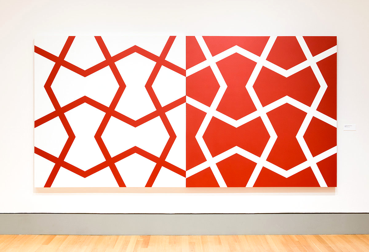 Jali XXVI: Red and White   2011. Acrylic on 2 canvases. 72 x 144 in., 182.9 x 365.8 cm.