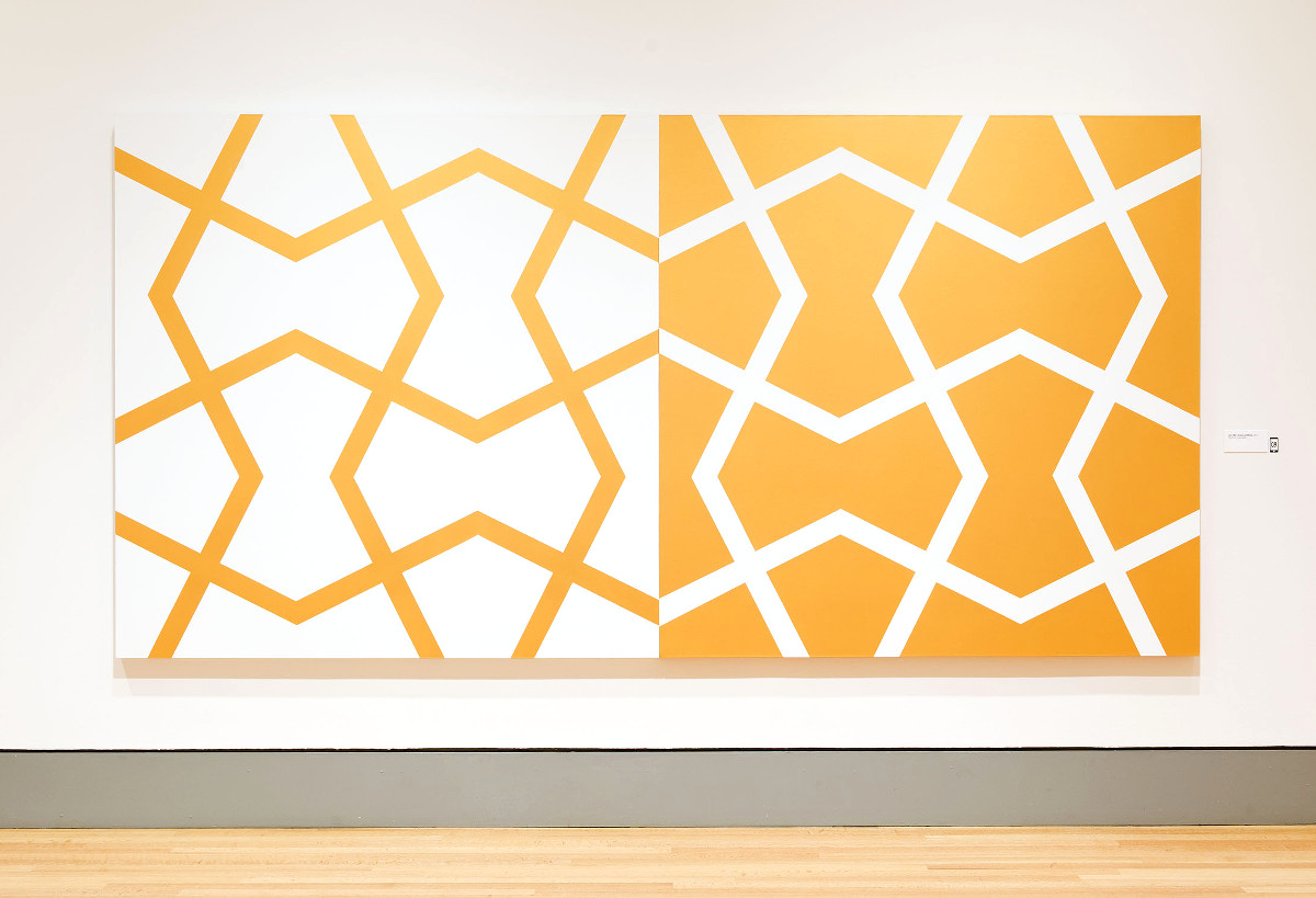 Jali XXV: Gold and White   2011. Acrylic on 2 canvases. 72 x 144 in., 182.9 x 365.8 cm.