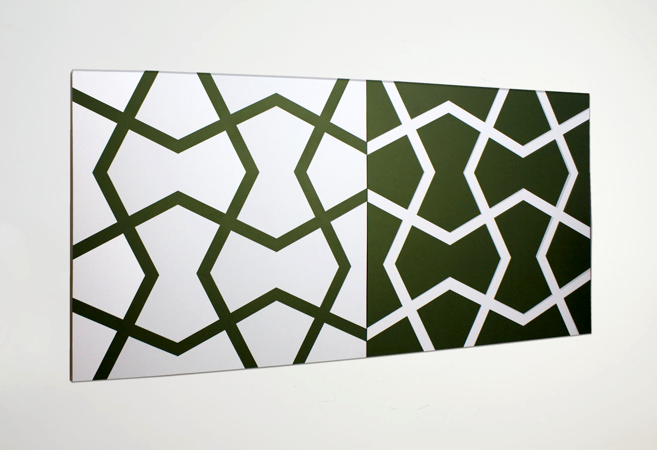 J  ali XXIV: Hunter Green and White   2011. Acrylic on 2 canvases. 72 x 144 in., 182.9 x 365.8 cm.