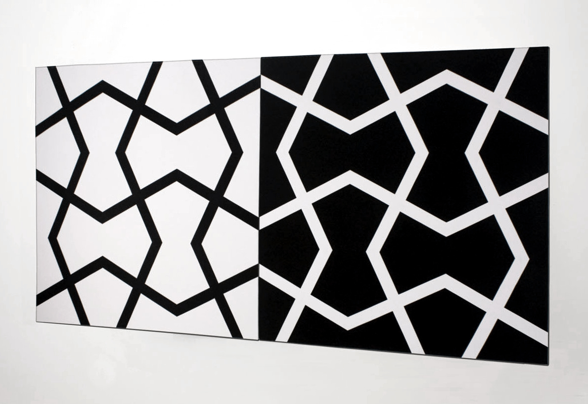 Jali XXII: Black on White and White on Black   2011. Acrylic on 2 canvases. 72 x 144 in., 182.9 x 365.8 cm.