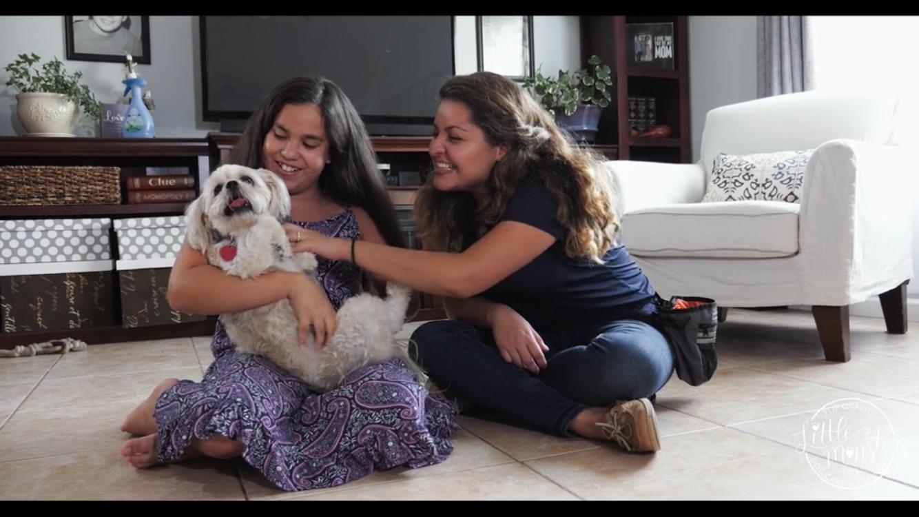 Silvana with customer and dog