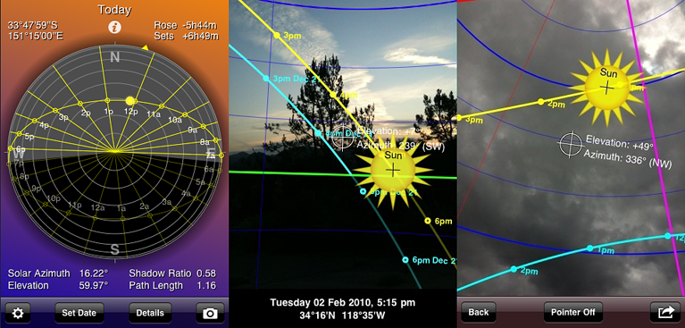 Sunseeker provides a flat compass view and an  augmented reality 3-D view showing the solar path, its hour intervals, its equinox, winter and summer solstice paths, rise and set times, twilight times, magic hours and more and a map view showing solar direction for each daylight hour. Also includes sun-event device notifications plus a widget