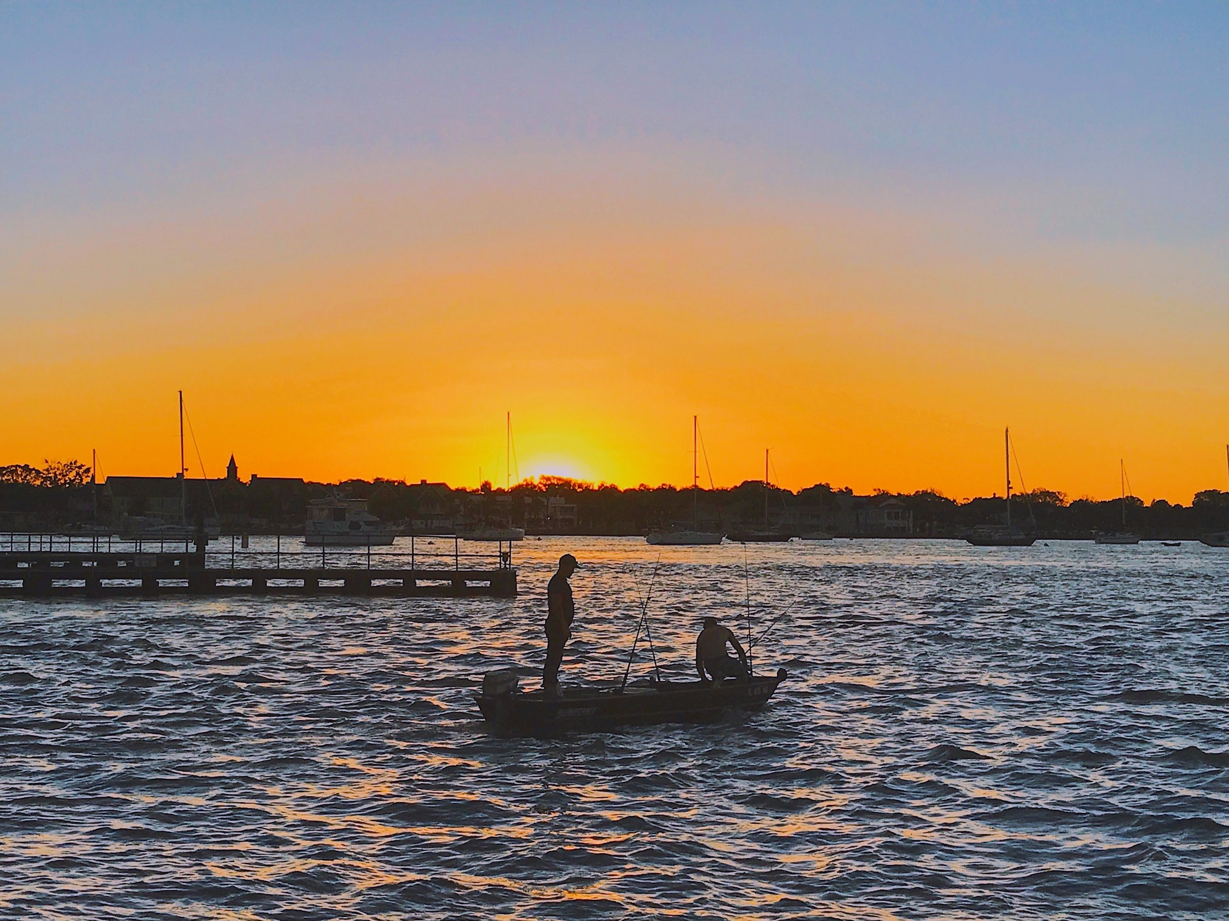 Sunset - Fishermen on the Matanzas River, St. Augustine Florida,
