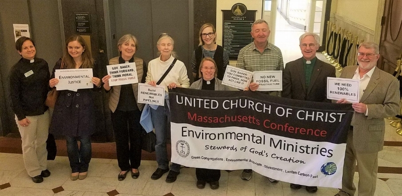 "Members of the church participated in the Stand In at the MA Governor's office asking Gov. Baker to ""Stand Up for Climate"" in the fall of 2017."