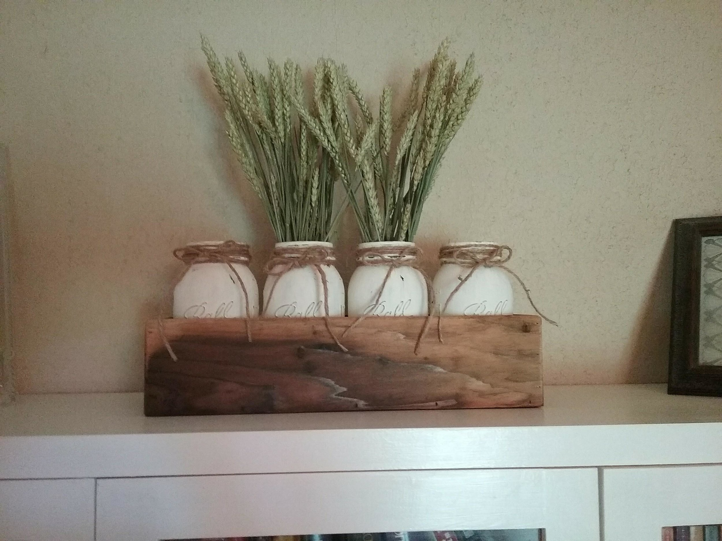 Distressed Mason Jars in rustic box - We sell our large boxes for $30 and smaller boxes for $26. Distressed mason jars are $6.50 for pint and $8.50 for quart.