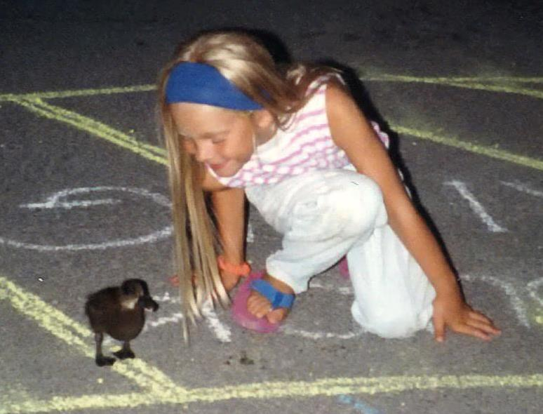 Me and my pet duck, Darkwing, circa 1990