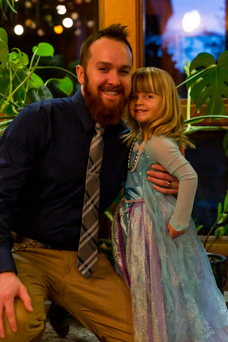 My husband and daughter before her first Daddy Daughter Dance at school. (Feb 2019)