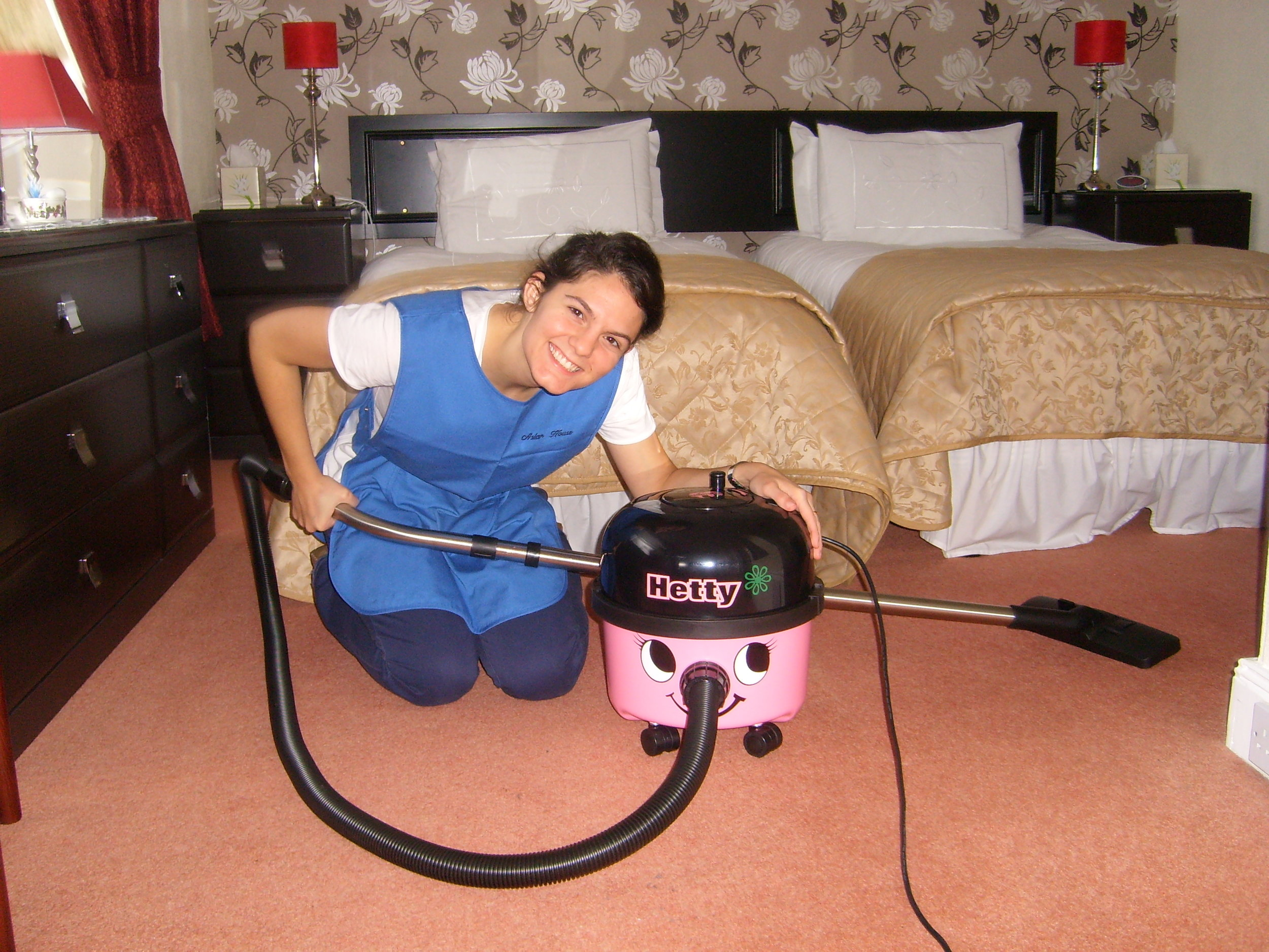 Here I am hoovering Room 4, also known as the Turret Room, with my favorite hoover Hetty. Leave it to Britain to personalize their vacuum cleaners.