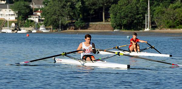 Long Island Rowing Club member James Lanzilotta, 14, rows alongside fellow Northport High School student Sarah Pitfick, 14, in Northport Harbor on Saturday, June 25, 2016. The rowing club hopes to help the school's students establish an official crew team. (Photo credit: James Carbone)