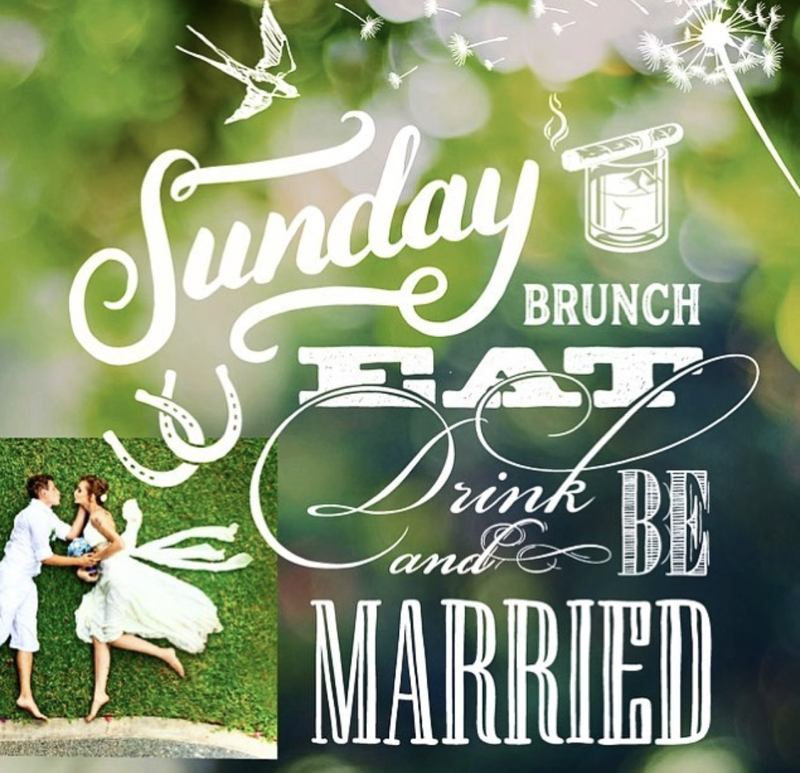 Sundays are the new thing   Brunch themed weddings   donut cake   coffee barista   yard games   mimosas   Bloody Mary bar