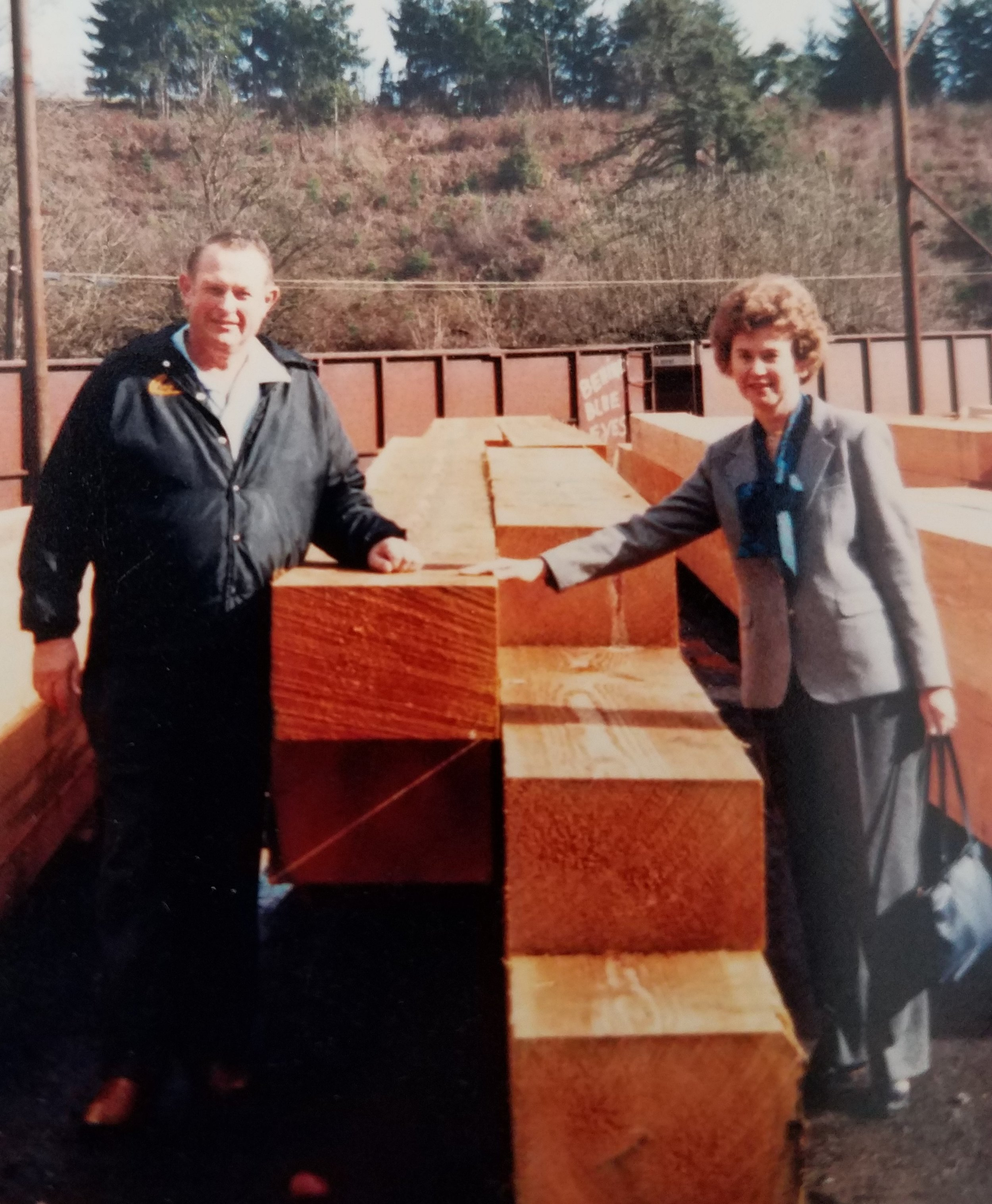 Chuck and Pat Scheuneman touring Torgeson Forest Products, Oregon.