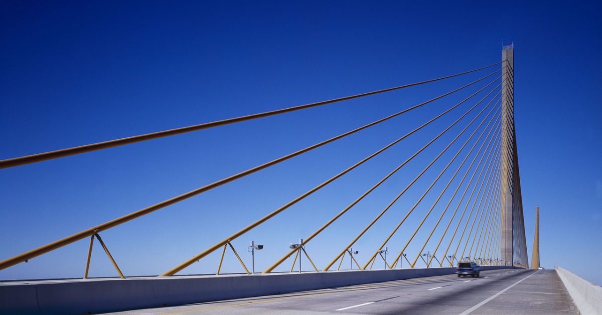 The new Sunshine Skyway Bridge in Tampa, Florida that we drove over without incident.